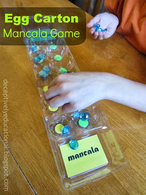 Recycle an empty egg carton into a mancala board. Instructions to make this fun DIY game of strategy, as well as a YouTube video with the game rules, are at Relentlessly Fun, Deceptively Educational.