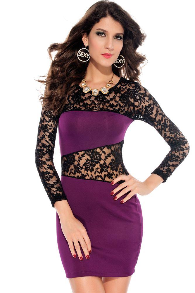 Amanda Lace Insert Dress Purple