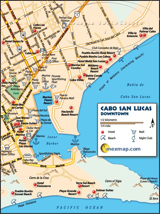 Downtown Cabo San Lucas Mexico Map