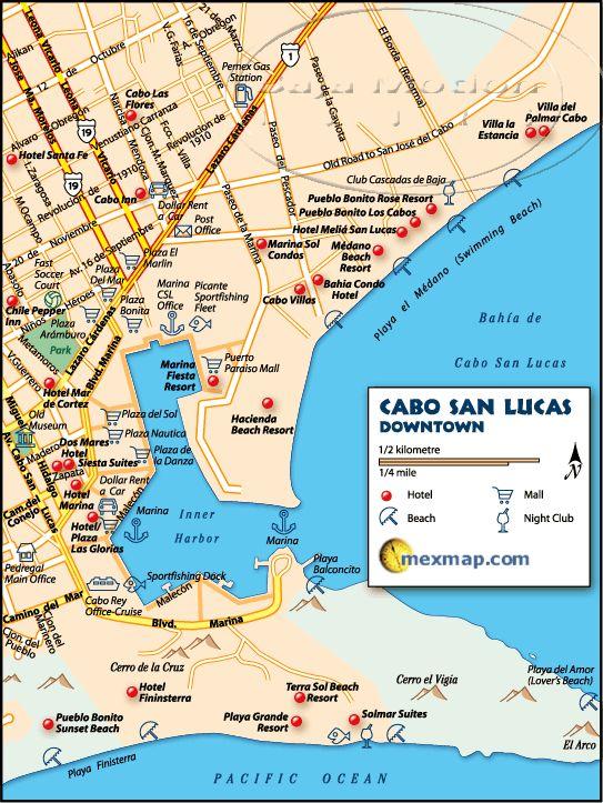 Downtown Cabo San Lucas Mexico Map
