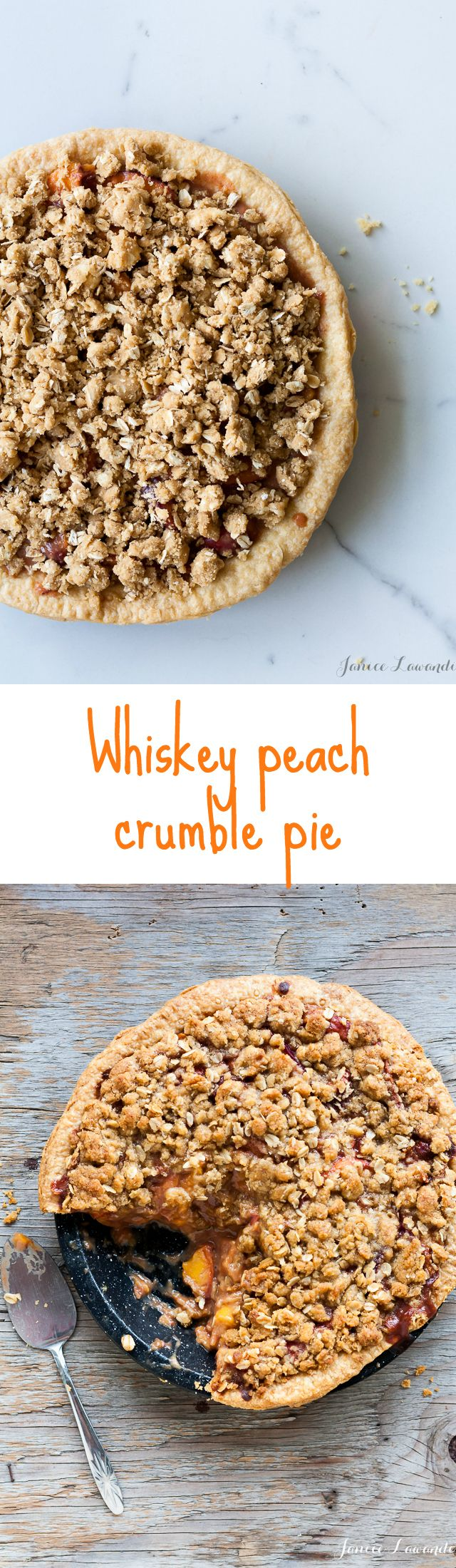 homemade Peach pie recipe made with whiskey and crumble topping
