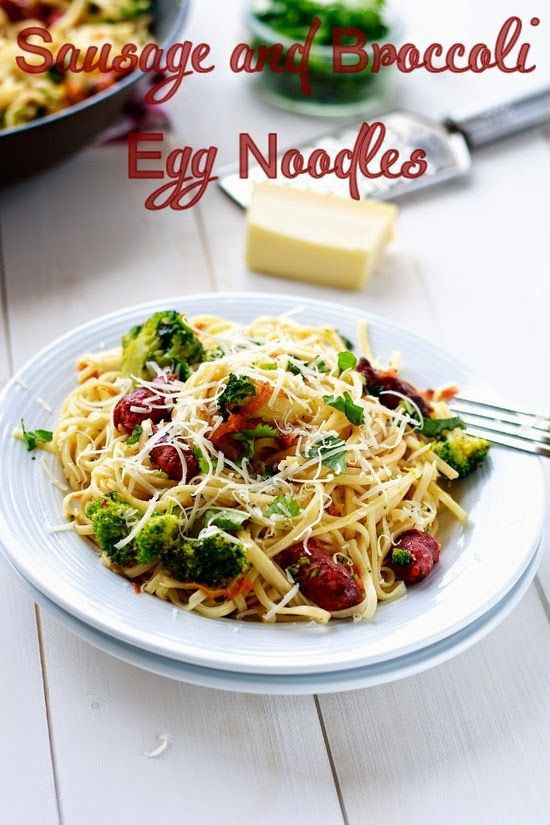 Sausage and broccoli egg noodles @ www.thecoffee-break.com
