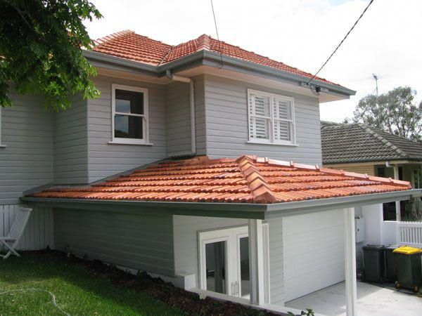 Red Roof Grey Painted Brick Google Search Roofingprojects Red Roof House Exterior Paint Colors For House House Roof