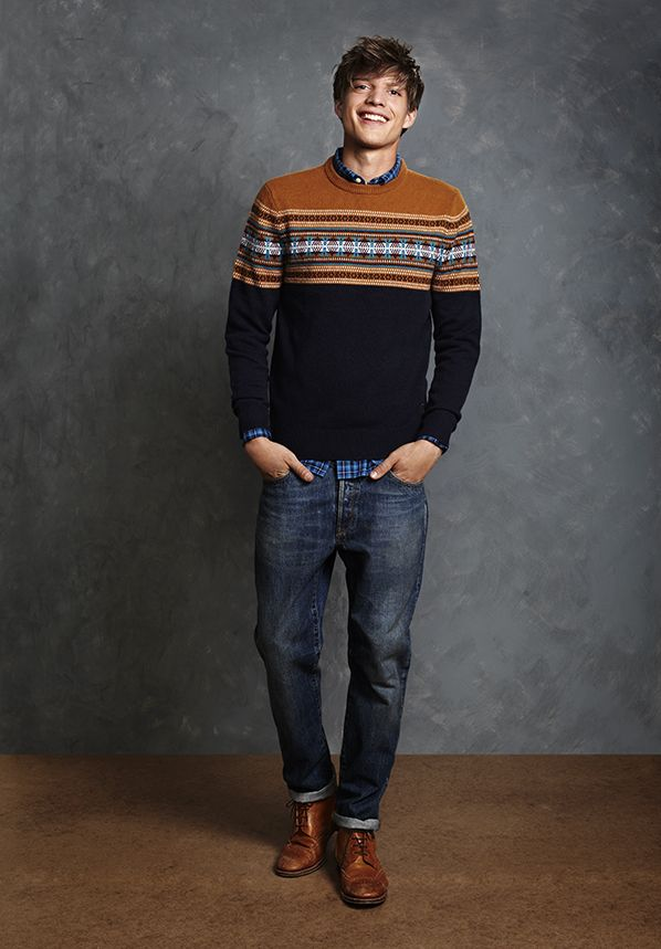 Fair Isle sweater from Jack Wills : either this model is really cute or the sweater is so great it makes him cute. I can't decide.