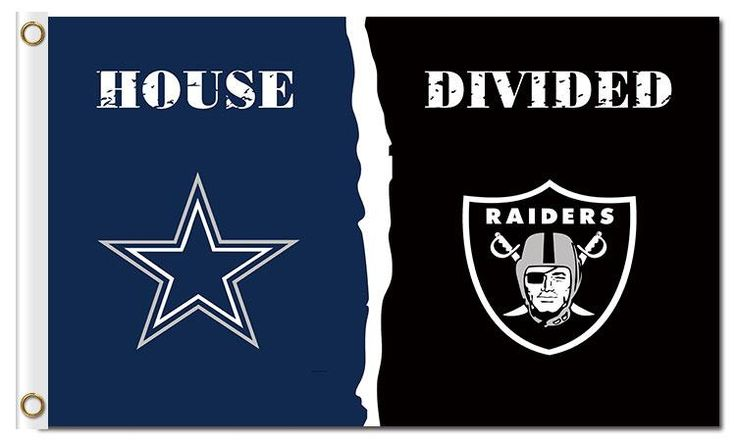 Dallas Cowboys and Oakland Raiders: House Divided Flag; 3'x5'