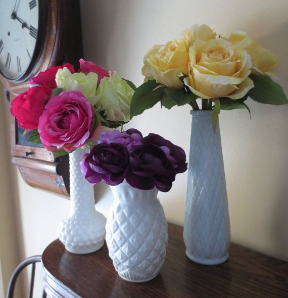 Images about milk glass vases with flowers on