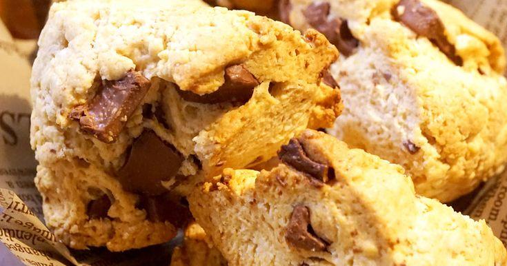 豆乳とオリーブオイルで美容と健康に嬉しいスターバックス風チョコスコーン♡ ホットケーキミックスで超簡単に出来ちゃいます!