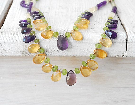 Amethyst and Citrine Layered Necklace Double by SunSanJewelry