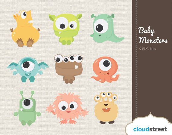 buy 2 get 1 free Cute Baby Monsters Clipart for Personal and Commercial Use ( cute baby monster clip art ) on Etsy, $4.95