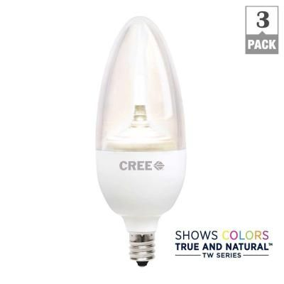 Cree TW Series 40W Equivalent Soft White Candelabra Decorative Dimmable LED Light Bulb (3-Pack)