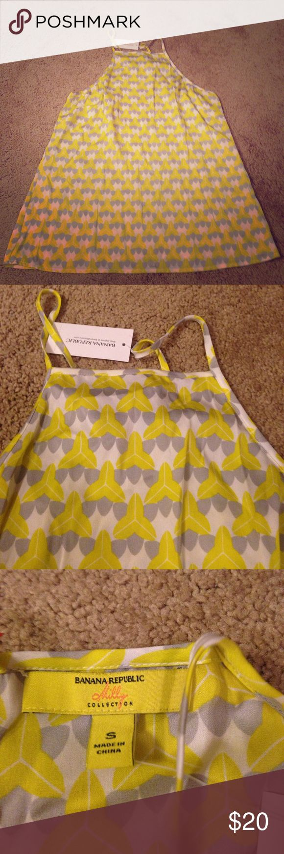 Geometric print Banana Republic cami Milly collection. New yellow, gray, white geometric print camisole tank. Silk spandex mix. Banana Republic Tops Camisoles
