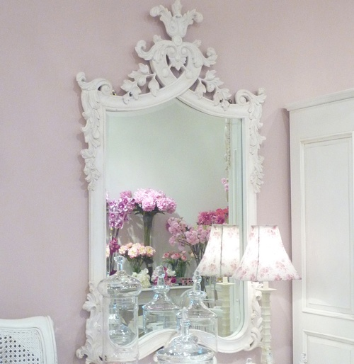 Large Antique White Carved Wall Mirror : Beau Decor