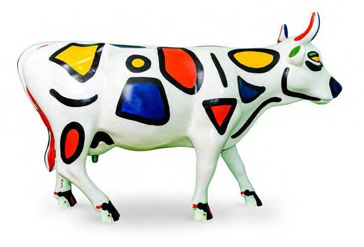 CHAPAGRE HOMMAGE À MONDRIAN L'ARTISTE Jeanne-Marie Chevallier - dite Chapagre - peint depuis son plus jeune âge. A 13 ans, la jeune artiste copie les impressionnistes. Miro, Kandinsky, Mondrian et Chagall… - Cornette de Saint Cyr - 31/10/2015 #Vache #Cow