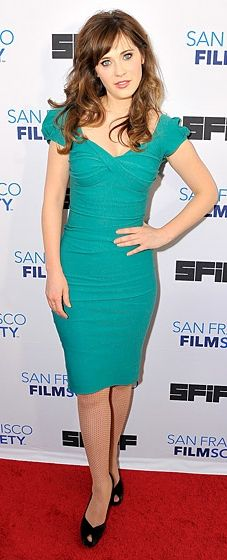 Zooey Deschanel wears a body-hugging Billion Dollar Baby Dress by Stop Staring! at the San Francisco Film Festival