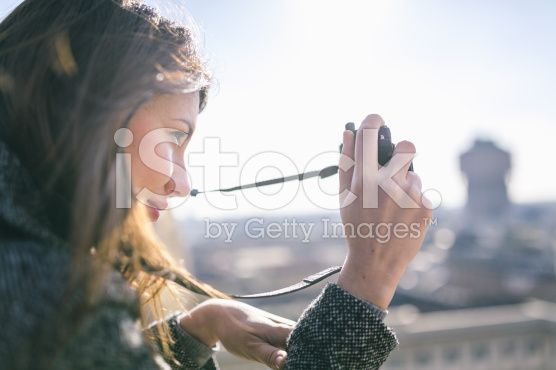 Woman with digital camera royalty-free stock photo