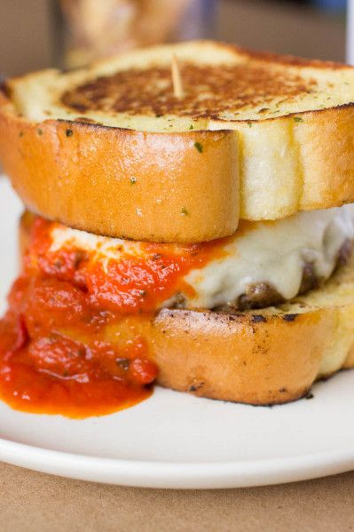 Juicy Italian Meatball Burger with Fresh Mozzarella and Marinara Sauce on Texas Toast | Brown Sugar