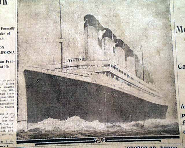 """Historic Newspaper - THE CALL, San Francisco, April 16, 1912  """"1400 PERISH IN WRECK OF THE TITANIC"""" with a banner subhead: """"Only 866 Saved When World's Greatest Liner Sinks at Sea"""""""
