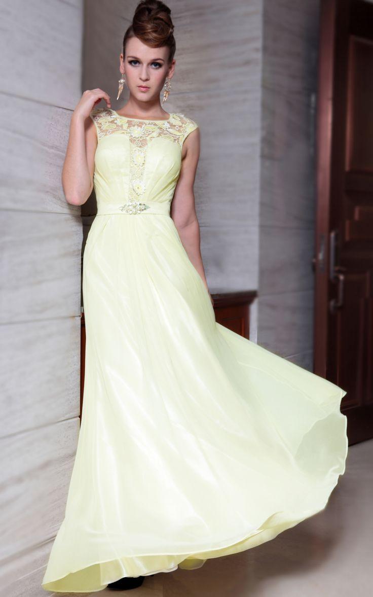 A-ligne de l'epaule jaune robe du soir perlees, robes de demoiselle d'honneur pour les filles