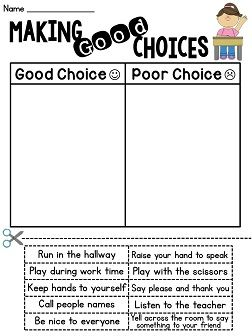 Making good choices cut and paste sort - a great classroom management activity for the first week of school!
