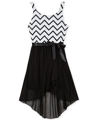 BCX Girls' Chevron High-Low Dress