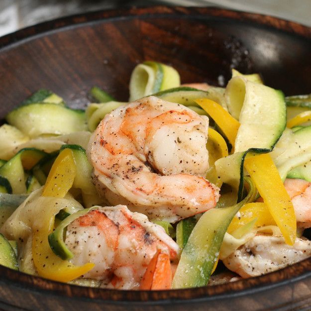 "Zucchini ""Linguini"" With Roasted Shrimp 