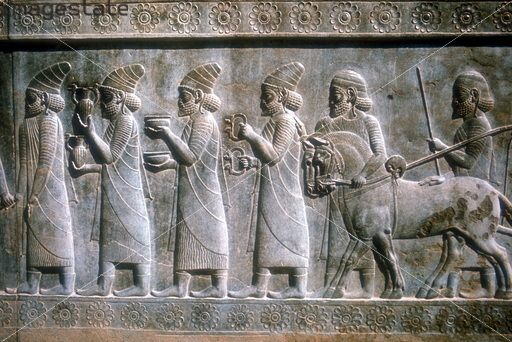 Relief sculpture, Persepolis, Iran, 5th-6th century BC. Detail of a stone frieze from the ancient capital of the Achaemenian kings of Persia, built during the reign of Darius I (522-486 BC)