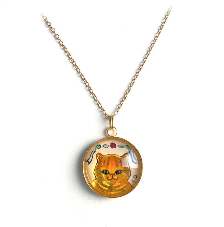 Hand Painted Enamel Necklace Cat Kitten Miniature Painting Enamelled Gold Tone Pendant at http://www.ebay.com/sch/bohemika/m.html