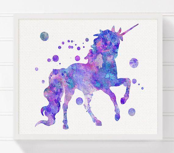 Unicorn Art Print Watercolor Unicorn Unicorn by MiaoMiaoDesign