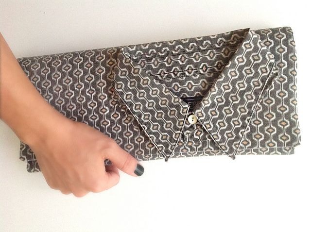 Upcycled men's shirt clutch!