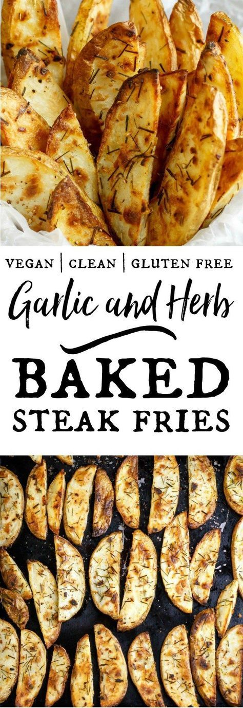 Garlic and Herb Baked Steak Fries - so easy to make, always healthy and delicious. I love them hot and fresh on salads - try it!