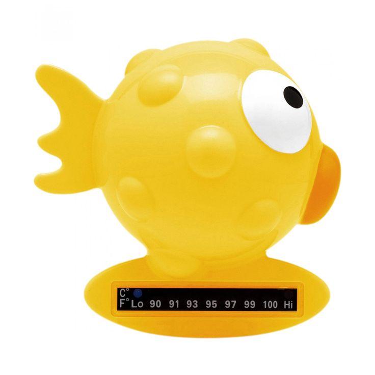 Termómetro Chicco elaborado en plástico con diseño de pez que ayuda a medir la temperatura para la hora del baño.
