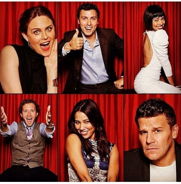 The cast of BONES... Booth does not look happy to be paired with the ' squints'