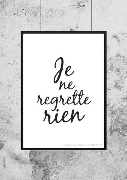 Affiche - Citation - Je ne regrette rien de RGB4YOU sur DaWanda.com
