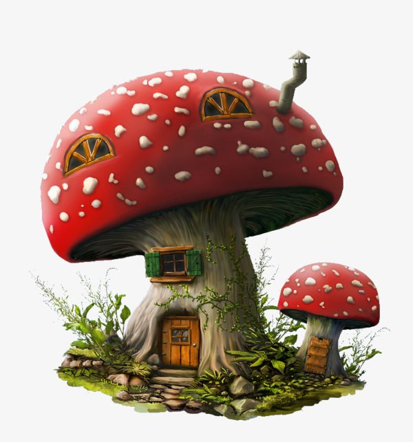 Mushroom House, Mushroom Clipart, Red, Hand Painted PNG Transparent Image and Clipart for Free Download