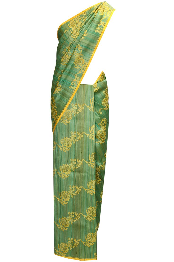 Shaded green and yellow handwoven running border sari with blouse piece available only at Pernia's Pop-Up Shop.