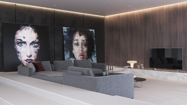 Просторные апартаменты, разработанные специально для молодой художницы. Светлая и уютная гостиная, с акцентом на диван, утопленный в нише. Высокие потолки с настенными деревянными панелями, фактура которых подчеркивается скрытым светом.