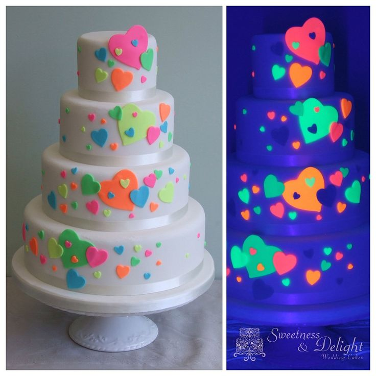 glow wedding | Glow in the Dark Neon Wedding Cake