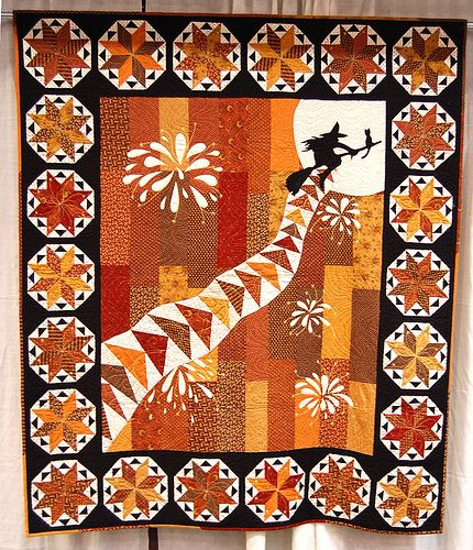 This witch is a quilter--she's catching air on Flying Geese! From Irish designer Terri McNeill of terristudiodesigns.: