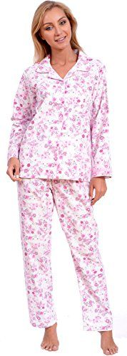 Patricia Women's Elegant Button Down Cotton Flannel Pajama Set(XXL, Floral Pink) *** Click on the image for additional details.
