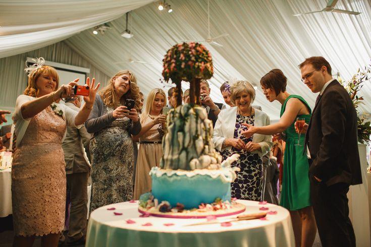 Heaton House Farm Wedding Venue, Cheshire, ARJ photography, wedding day, wedding photography, wedding cake, piece of cake, fancy cake