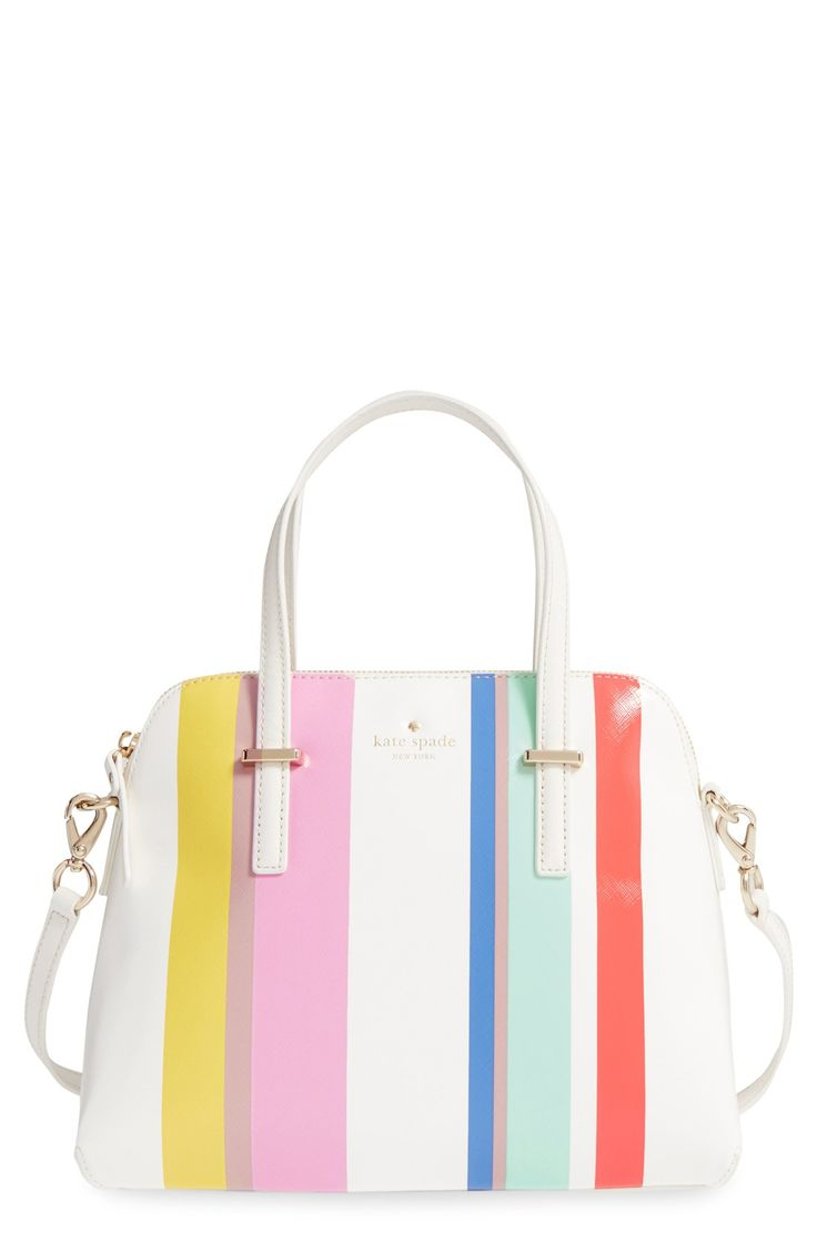 Candy-colored stripes add sweet color to this Kate Spade satchel.
