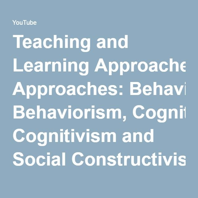 Easy to follow YouTube clip explaining teaching and learning theories: Behaviorism (Skinner), Cognitivism (Piaget) and Social Constructivism (Vygotsky) - YouTube