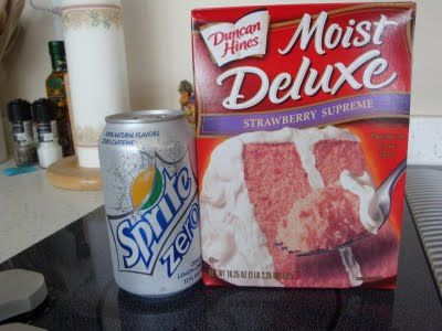 Strawberry Sprite Cake:  The only ingredients are a 12 oz can of sprite and a strawberry cake mix!