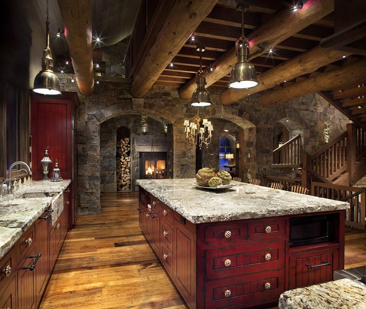 356 best images about lodge style kitchens baths on for Log cabin kitchens and baths