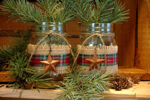 Rustic set of 2 Mason Jars with Barn Stars and Burlap for your Christmas decor