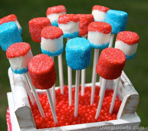 July Marshmallow Pops: Cakes Pop, Fourth Of July, Red White Blue, July Marshmallows, 4Th Of July, Parties Ideas, July 4Th, Blue Marshmallows, Marshmallows Pop