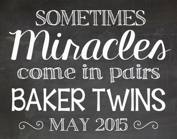 Twins Pregnancy Announcement Chalkboard by LaLaExpressions on Etsy
