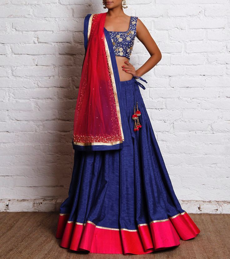 Royal Blue Hand Embroidered Raw Silk Lehenga Set