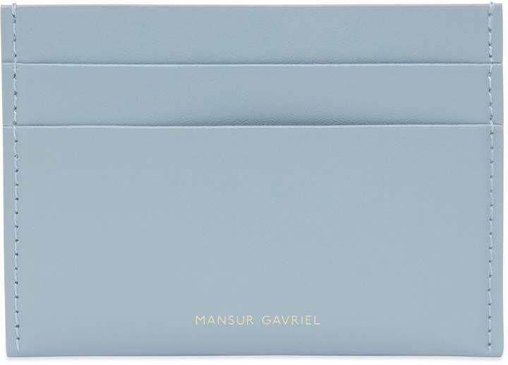 Mansur Gavriel Calf Credit Card Holder – Grey Blue