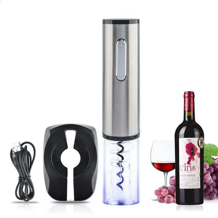 Top Quality Rechargeable Electric Wine Bottle Opener Automatic Wine Opener Corkscrew Bar Tool - Silver   Transparent